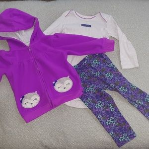 Other - Purple Floral Owl 3-pc Outfit, 18 months